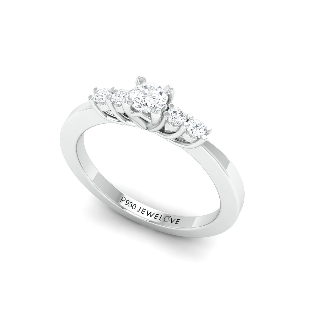 20 Pointer Solitaire Platinum Ring with Diamond Accents for Women JL PT 323