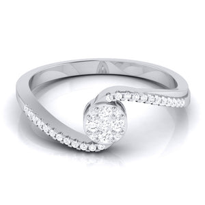Designer Solitaire-Look Pressure Setting Platinum Ring for Women JL PT LR 83