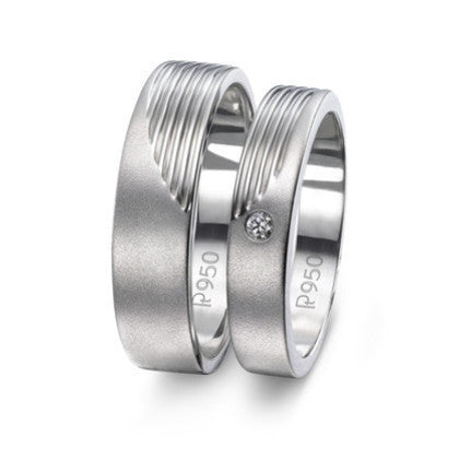 Super Sale - Platinum Love Bands JL PT 421 Ring Sizes 17, 21 - Suranas Jewelove
