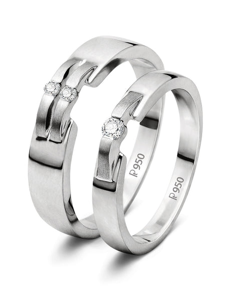New Style Platinum Love Bands SJ PTO 202 - Suranas Jewelove
