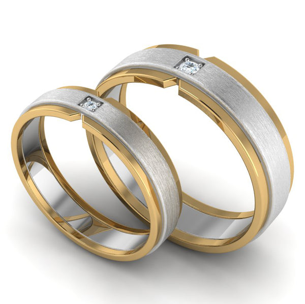 Perspcetive View of Single Diamond Platinum & Yellow Gold Fusion Couple Rings JL PT 641