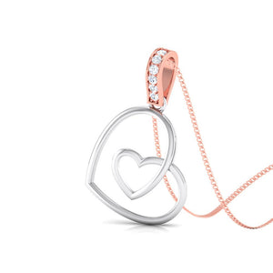 Platinum Double Heart Pendant with Diamond Studded Rose Gold Hook JL PT P 8101