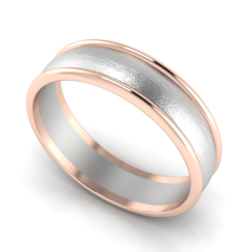 Perspective View of Classic Plain Platinum Couple Rings With a Rose Gold Border JL PT 633