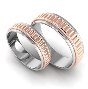 Perspective View of Designer Platinum & Rose Gold Couple Rings JL PT 638