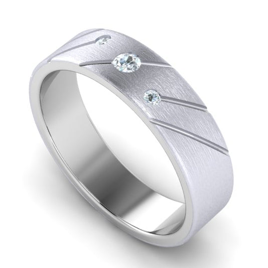 Perspective View of Designer Platinum with Diamond Love Bands with Slanting Lines JL PT 646