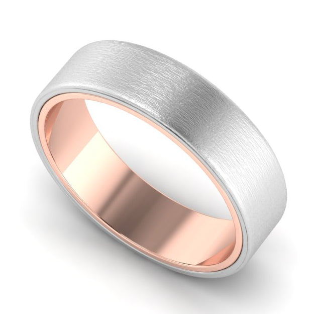 Perspective View of Matte Finish Platinum Band with Rose Gold Base JL PT 637