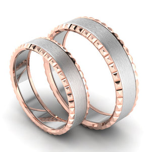 Perspective View of Matte Finish Platinum Love Bands with Designer Cut Rose Gold Borders JL PT 654