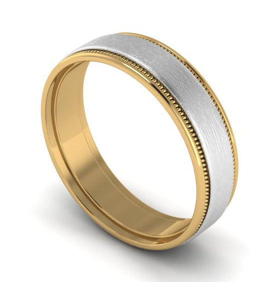 Perspective View of Milgrain Edge Platinum & Yellow Gold Couple Rings JL PT 636