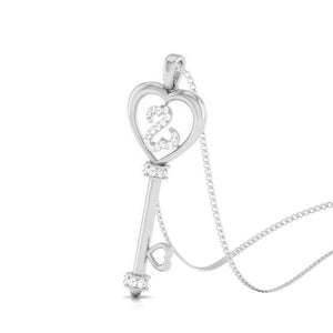 Key to Your Heart Platinum Pendant with Diamonds JL PT P 8198