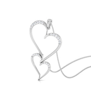 Platinum Double Heart Pendant with Diamonds JL PT P 8078