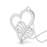 Load image into Gallery viewer, Leaf & Heart Platinum Pendant with Diamonds JL PT P 8092