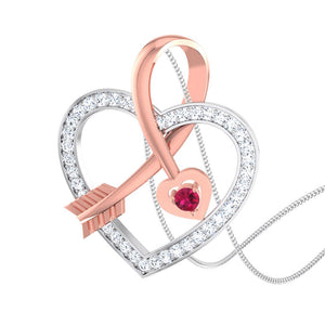Cupid's Arrow Platinum & Rose Gold Heart Pendant with Ruby & Diamonds JL PT P 8064