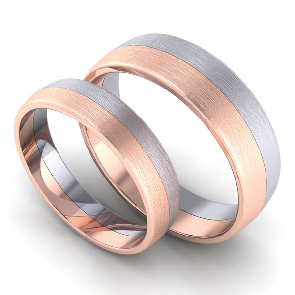 Perspective View of Simple Platinum & Rose Gold Couple Rings JL PT 634 (2)