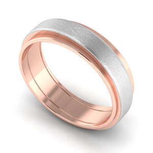 Perspective View of Slanting Platinum & Rose Gold Couple Rings JL PT 635