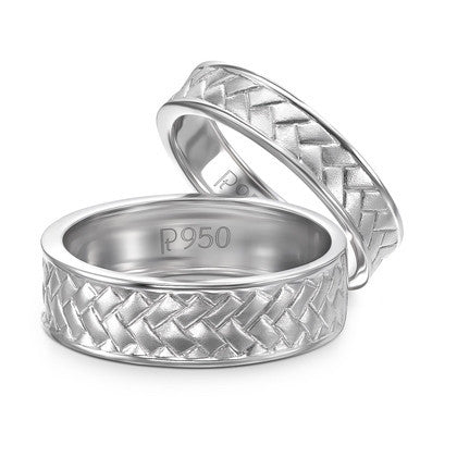 Plain Platinum Love Bands with Weaving Texture JL PT 417 - Suranas Jewelove