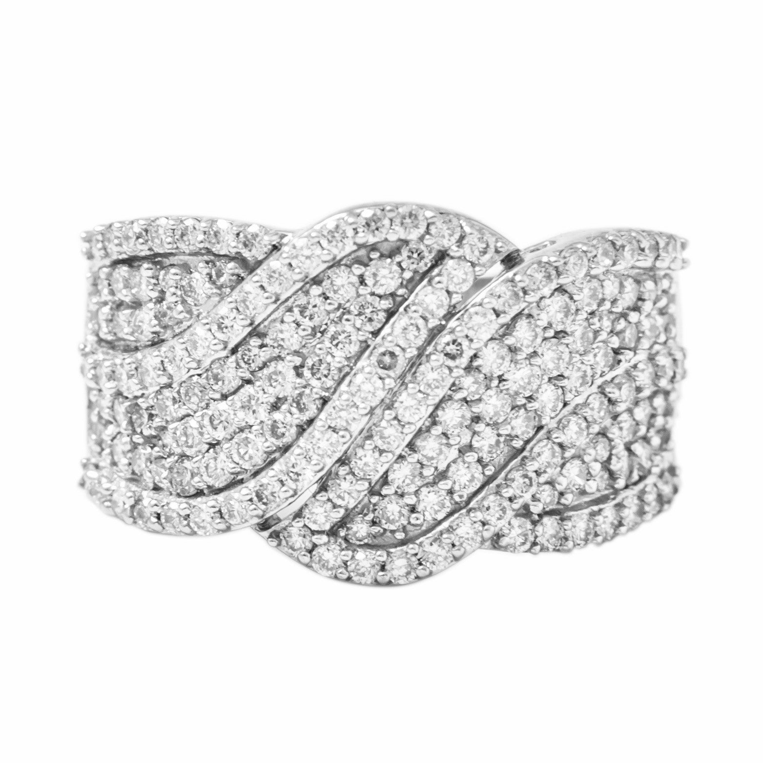 Broad Designer Bridal Ring with Diamonds in Platinum SJ PTO 263 - Suranas Jewelove  - 3