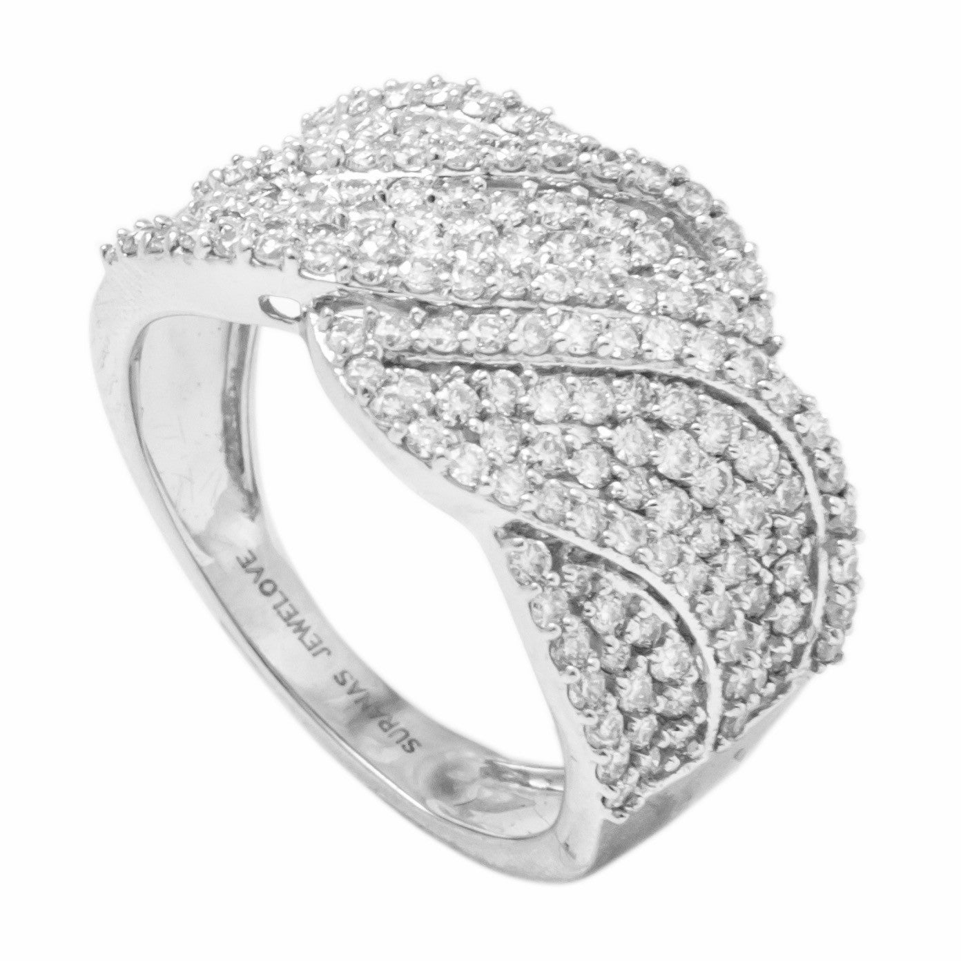 Broad Designer Bridal Ring with Diamonds in Platinum SJ PTO 263 in India