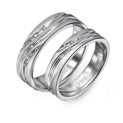 Platinum Couple Rings with Diamonds set in Curvilinear Grooves JL PT 428 - Suranas Jewelove