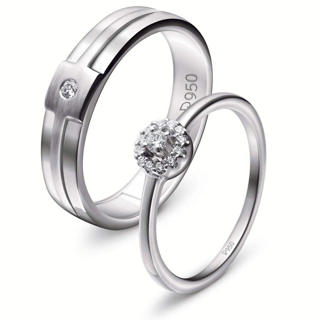 Platinum Engagement Couple Rings with Diamonds JL PT 456 - Suranas Jewelove