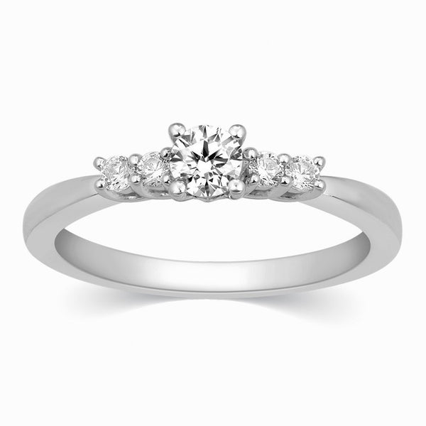 30 Pointer Solitaire Platinum Ring with Diamond Accents for Women JL PT 323 in India