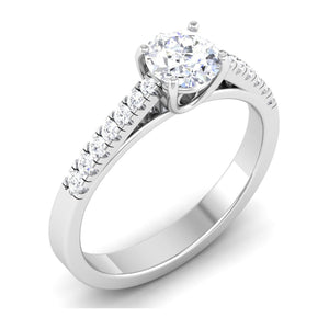 50 Pointer Platinum Diamond Solitaire Ring with Diamond Shank For Women JL PT 485
