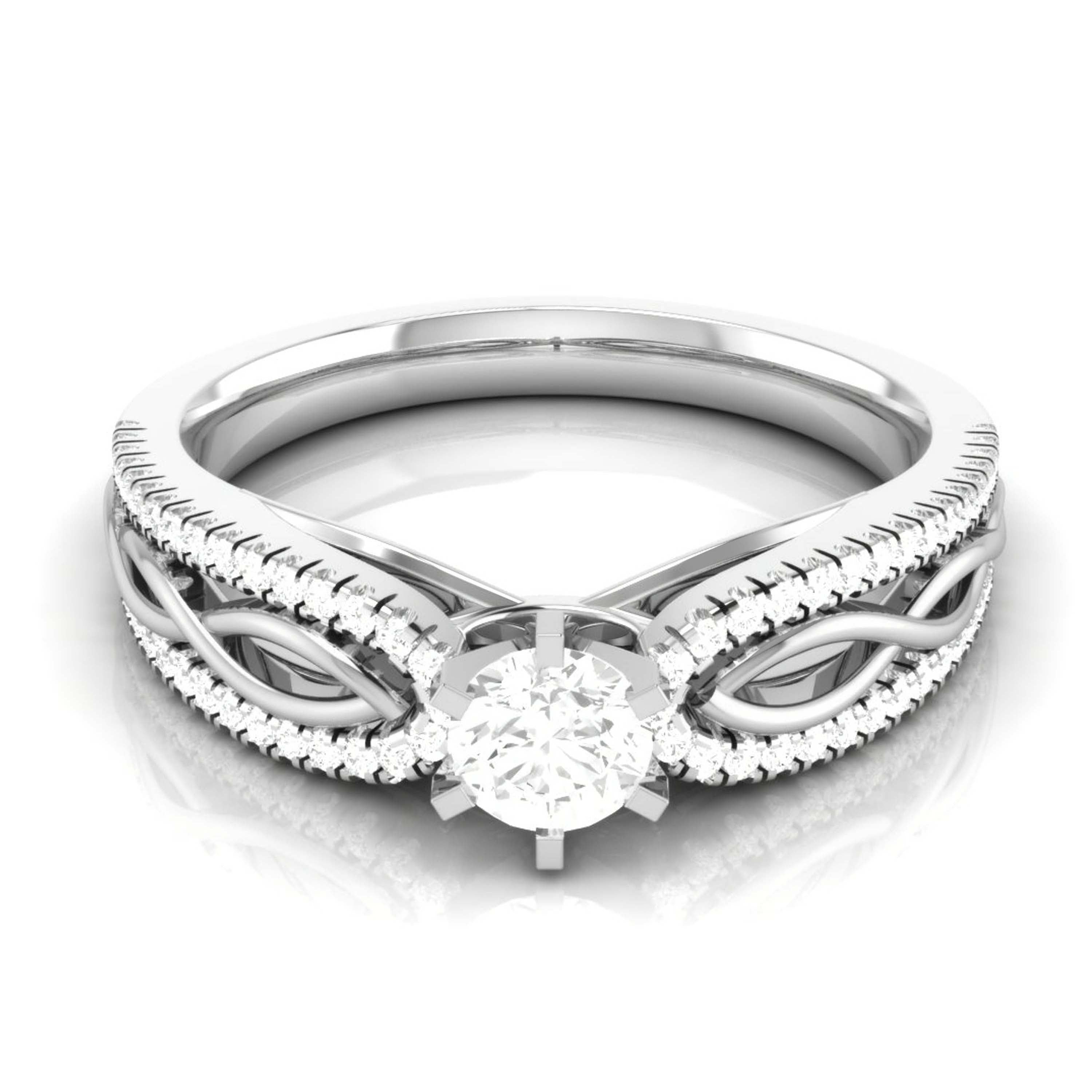 Designer Platinum Solitaire Engagement Ring with Infinity Shank for Women JL PT R-16