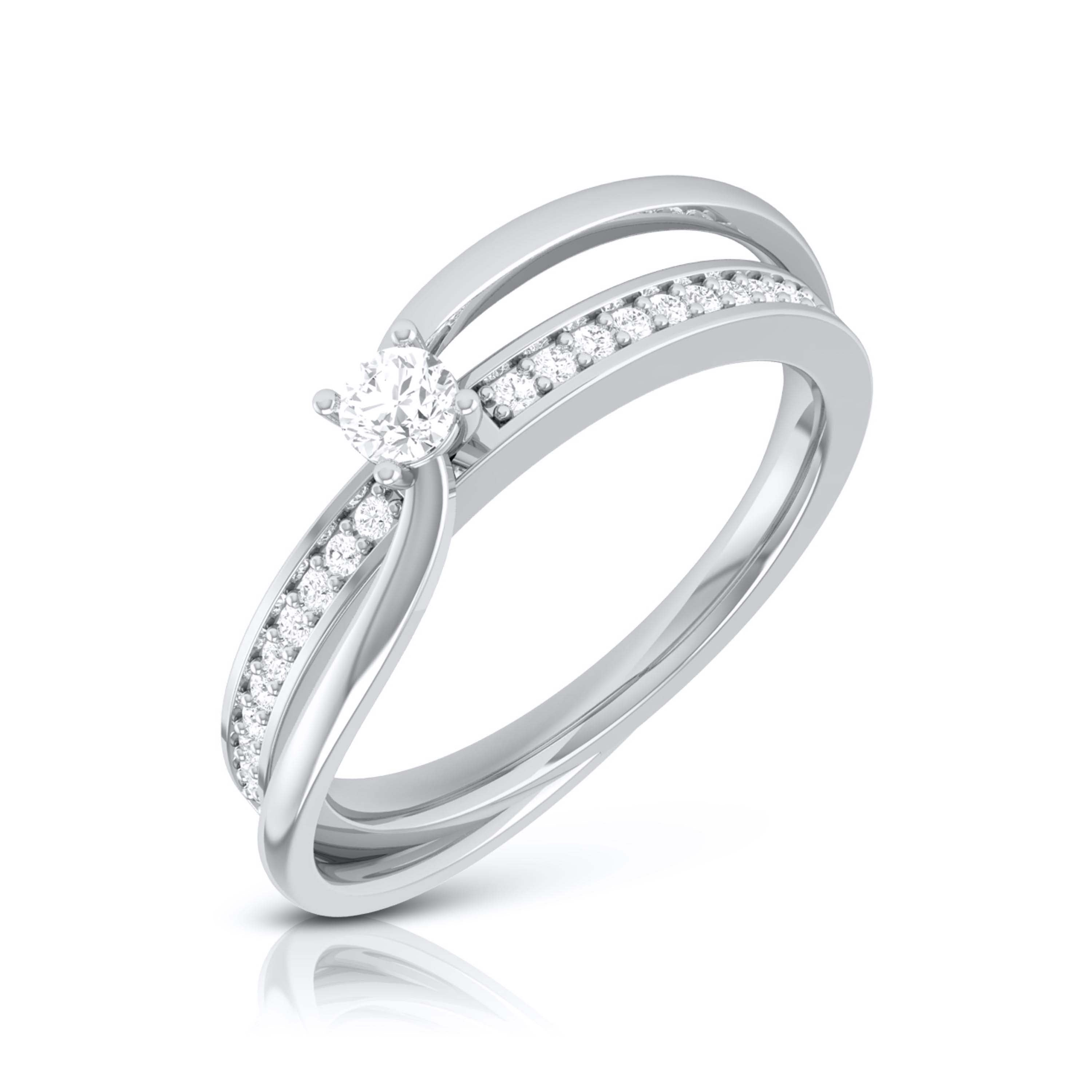 10-Pointer Designer Diamond Ring for Women with Diamond Studded Shank JL PT R-37