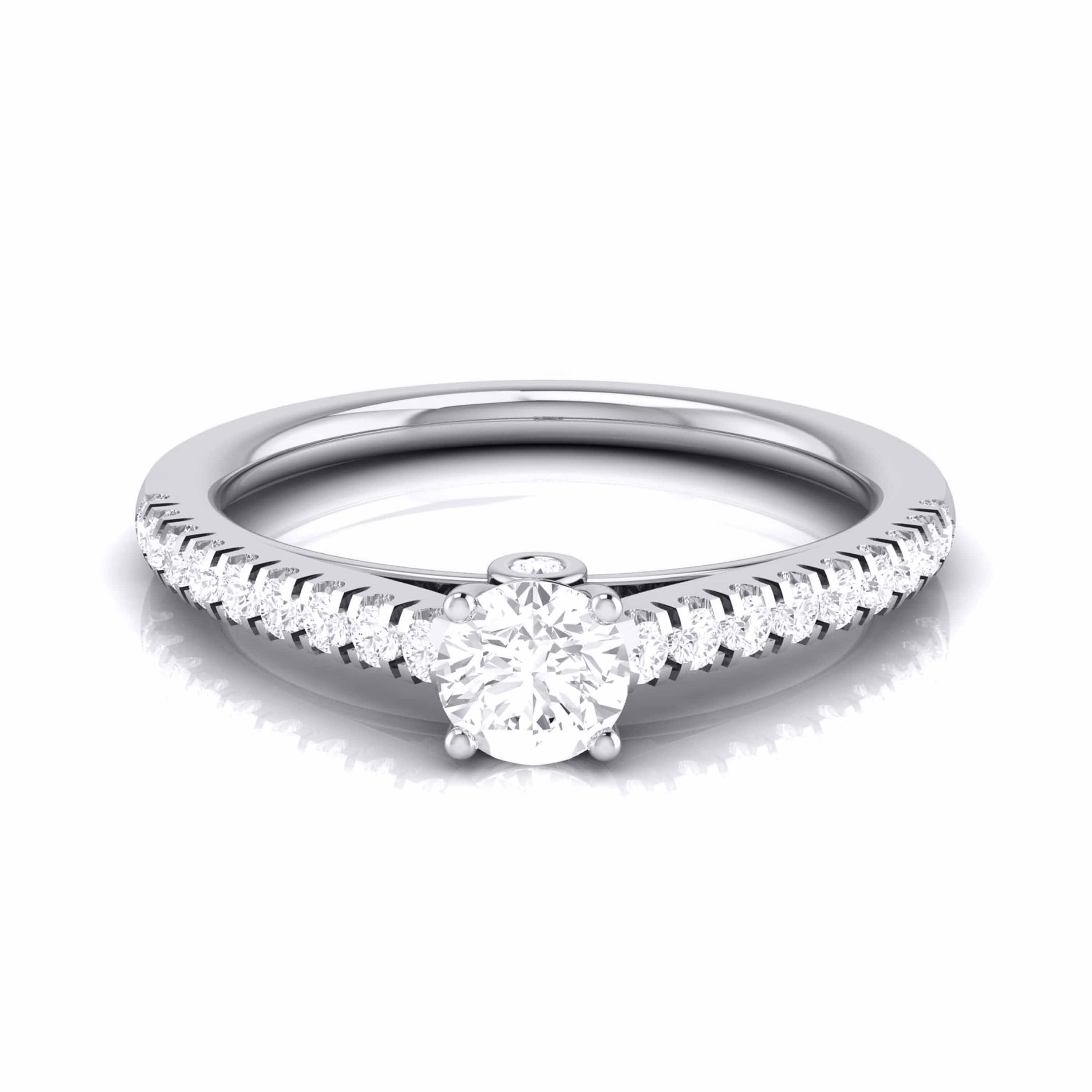Platinum Diamond Halo Solitaire Engagement Ring JL PT R-55