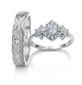 Rays of Light Platinum Love Bands with Solitaire JL PT 984