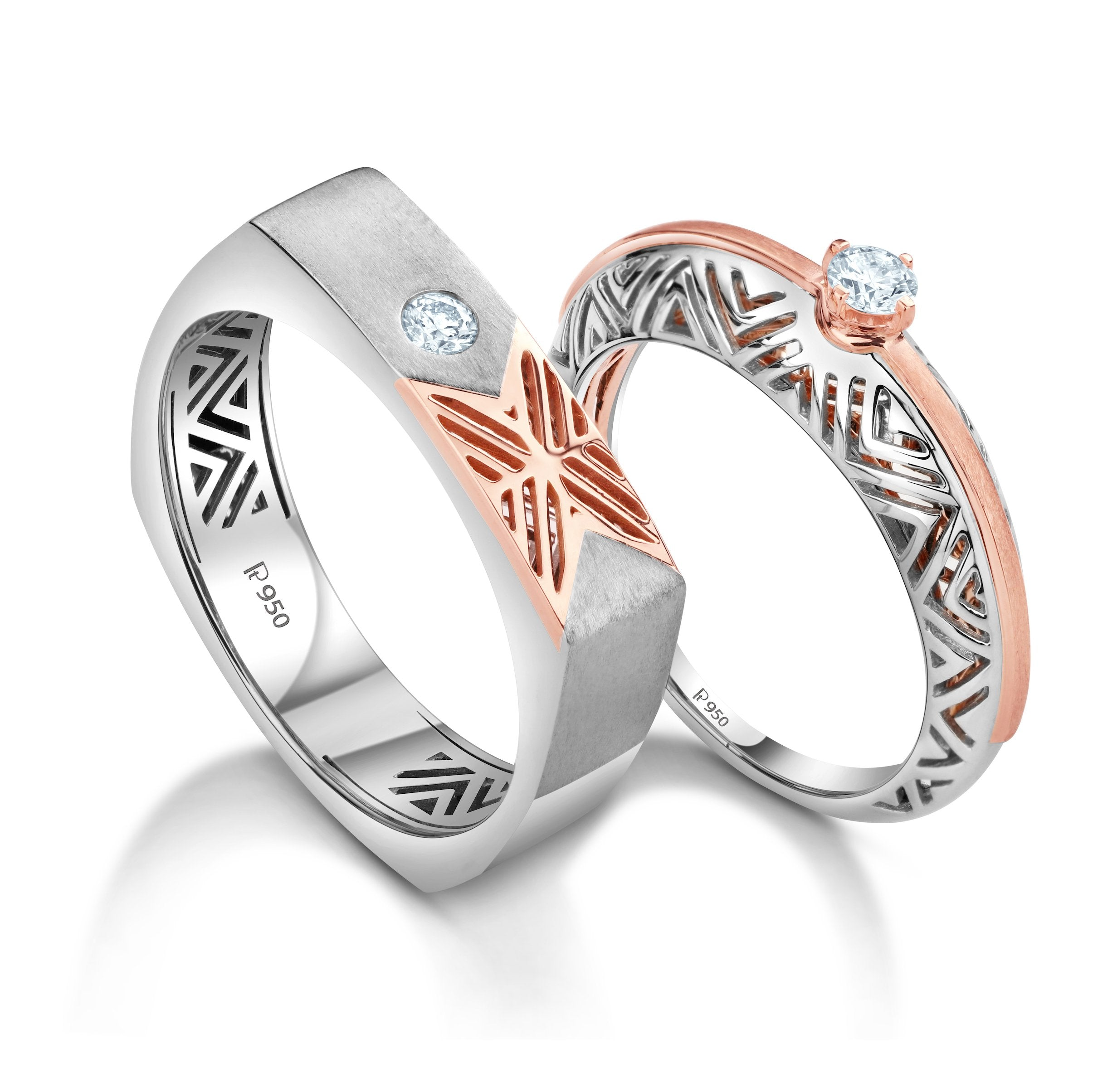 Platinum & Rose Gold Couple Rings with Single Diamonds JL PT 952