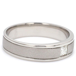 Side View of Princess Cut Single Diamond Ring for Men JL PT 420