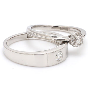 Side View of Platinum Rings for Couple with Single Diamonds JL PT 593