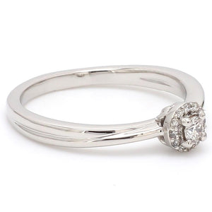 Side View of Platinum Rings with Single Diamonds Ring for Women JL PT 593