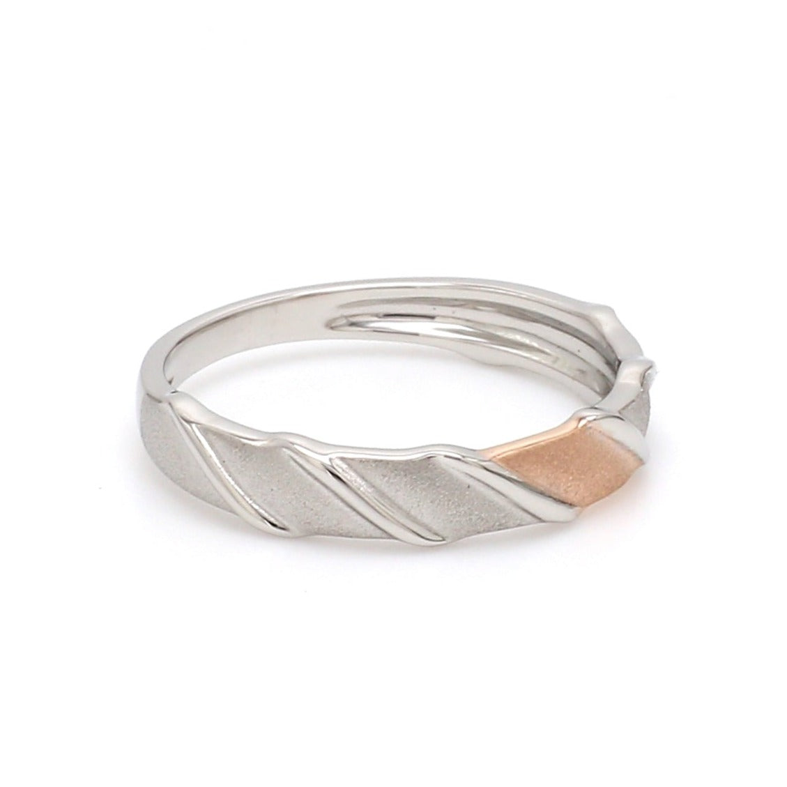Side View of Designer Plain Platinum & Rose Gold Love Bands for Women JL PT 910