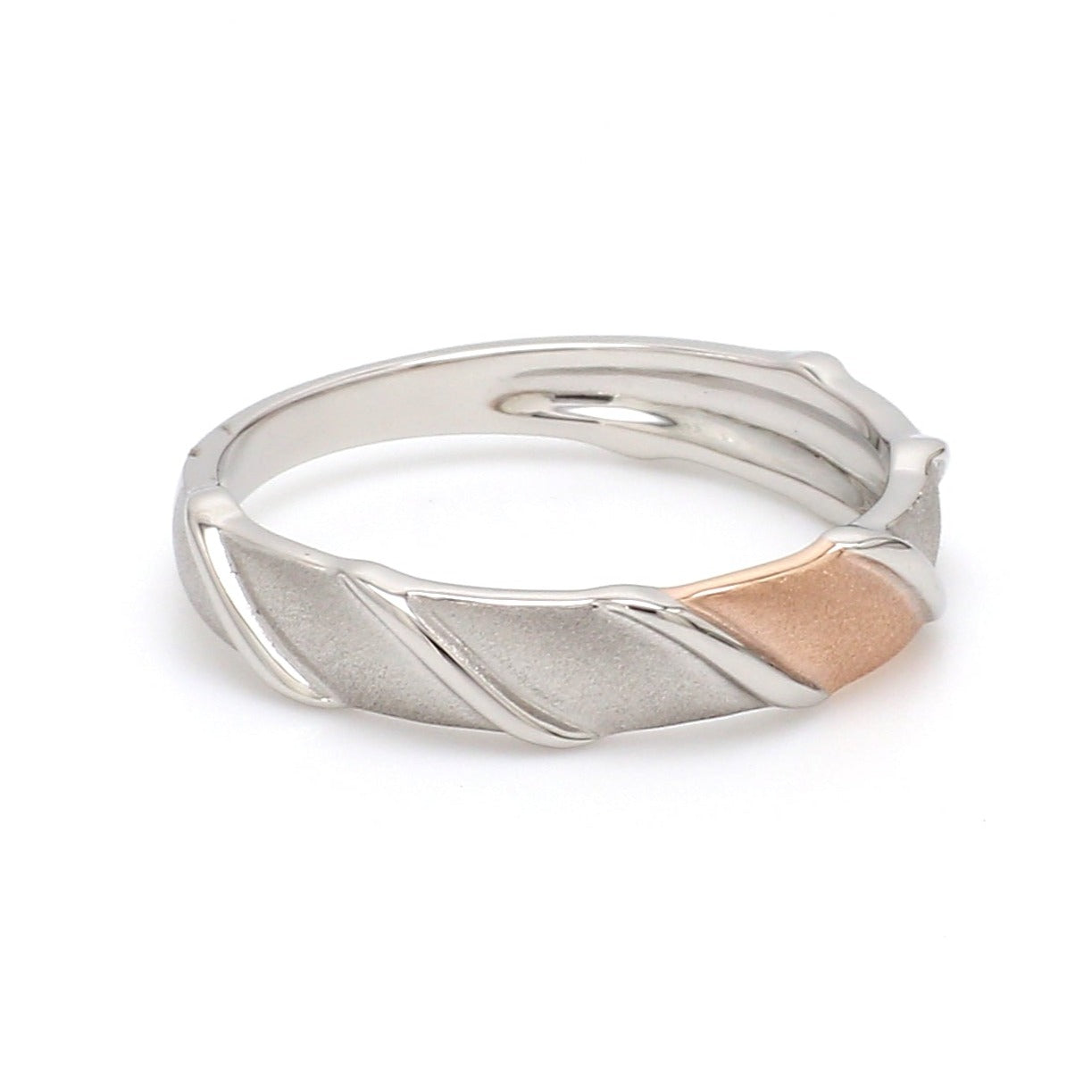 Side View of Designer Plain Platinum & Rose Gold Love Bands  for Men JL PT 910