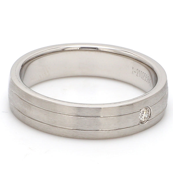 Single Diamond Matte Finish Platinum Band with Grooves for Men JL PT 665