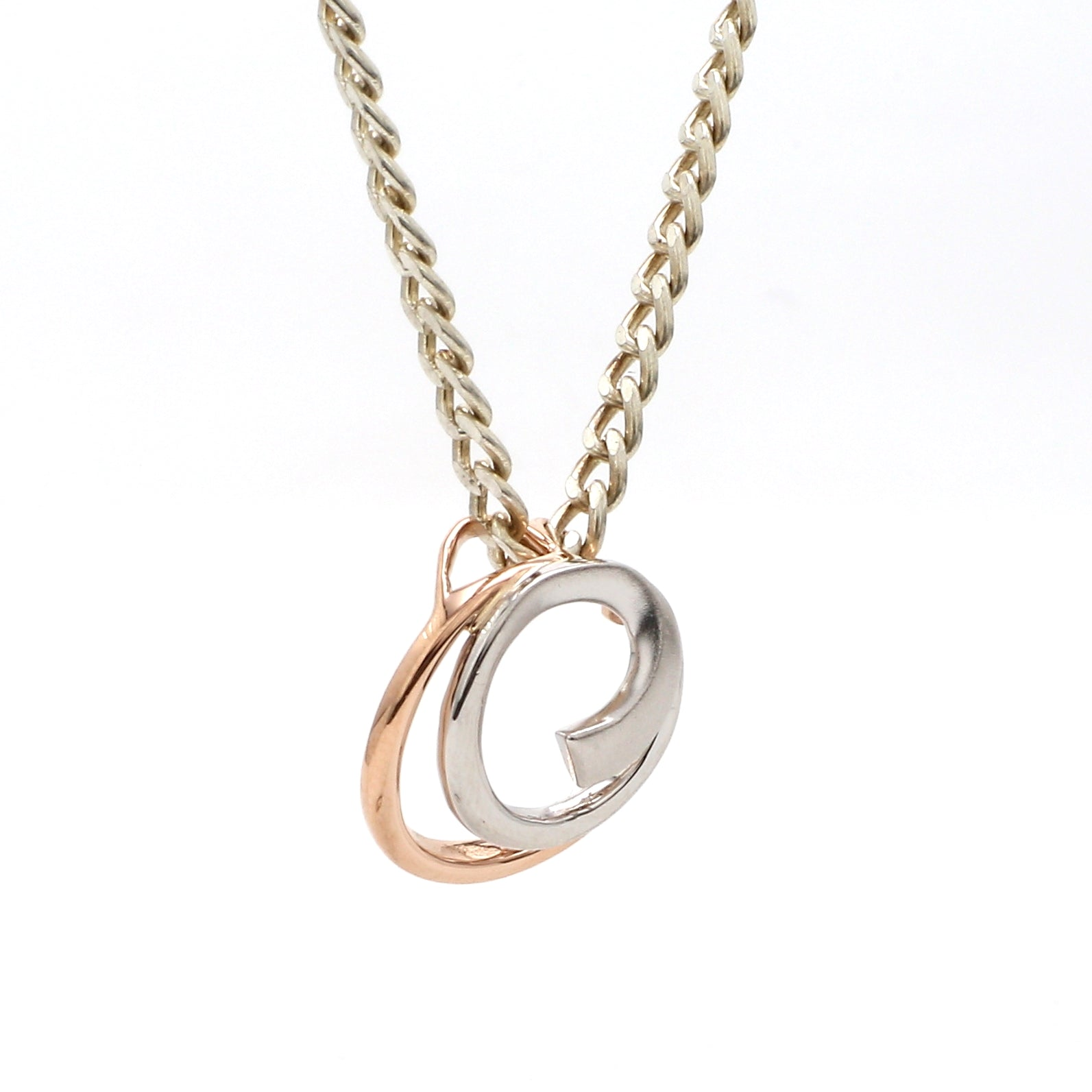 Side View f Platinum Rose Gold Fusion Pendant with Circles JL PT P 176