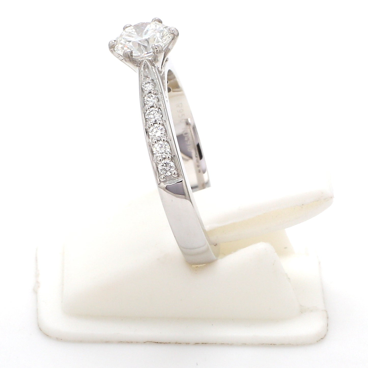 Side View of Customised Platinum Diamond Solitaire Ring JL PT 917