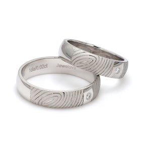 Side View of Customized Fingerprint Engraved Platinum Rings with Diamonds for Couples