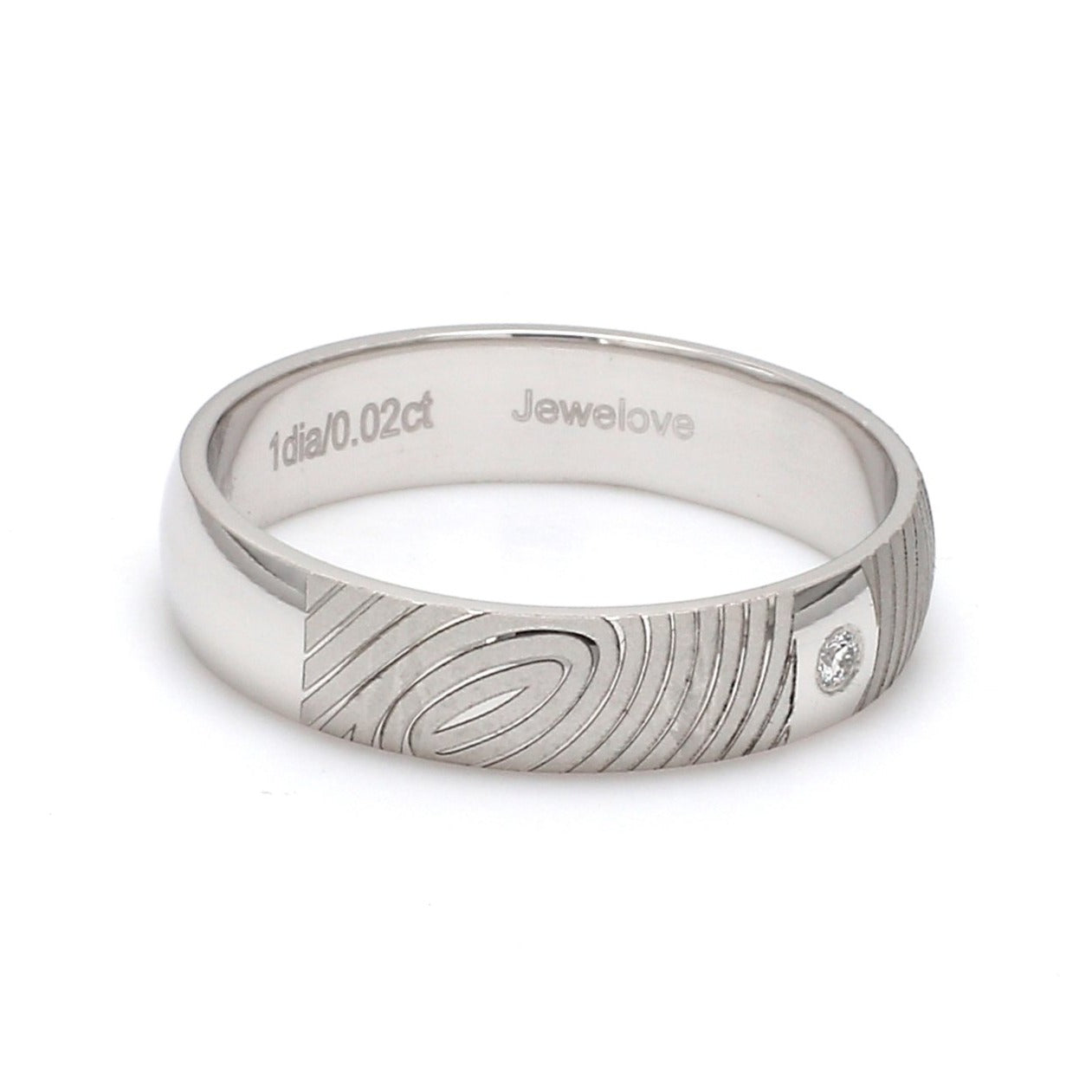 Side View of Customized Fingerprint Engraved Platinum Rings with Diamonds for Men