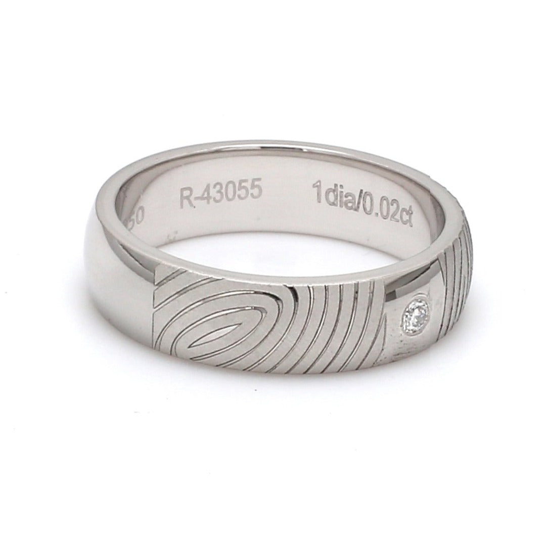Side View of Customized Fingerprint Engraved Platinum Rings with Diamonds for Women