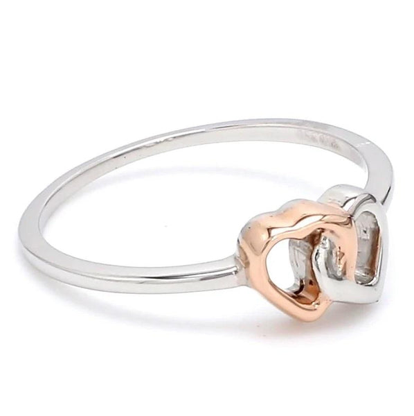 Side View of Entangled Heart Simple Platinum & Rose Gold Ring for Women JL PT 549