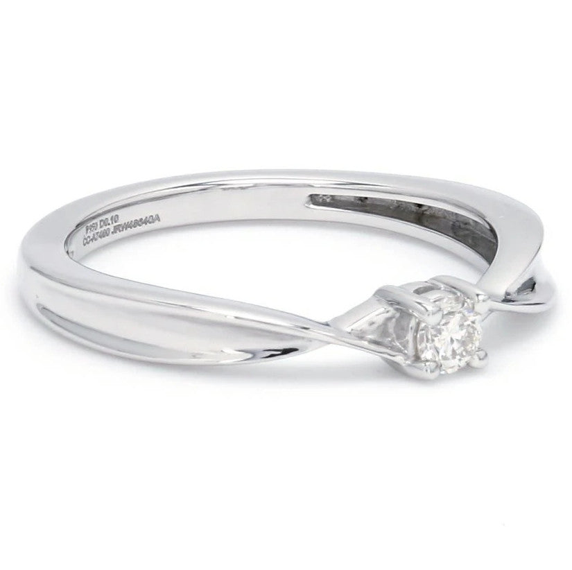 Side View of Single Diamond Platinum Ring with a Curve for Women JL PT 579