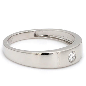 Side View of Platinum Rings with Single Diamonds Ring for Men JL PT 593