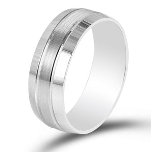 Perspective View of 7mm Elegant Plain Platinum Ring for Men with Horizontal Lines JL PT 541