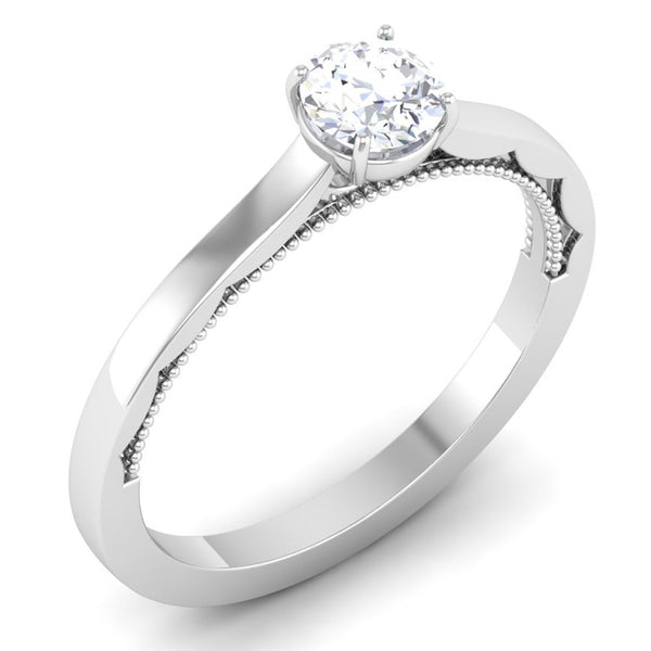 Perspective View of 30 Pointer Platinum Solitaire Engagement Ring with Milgrain Finish JL PT 6576