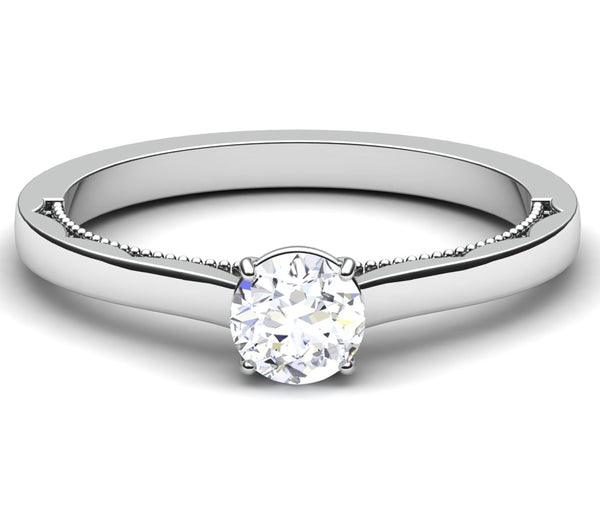 Front View of 30 Pointer Platinum Solitaire Engagement Ring with Milgrain Finish JL PT 6576