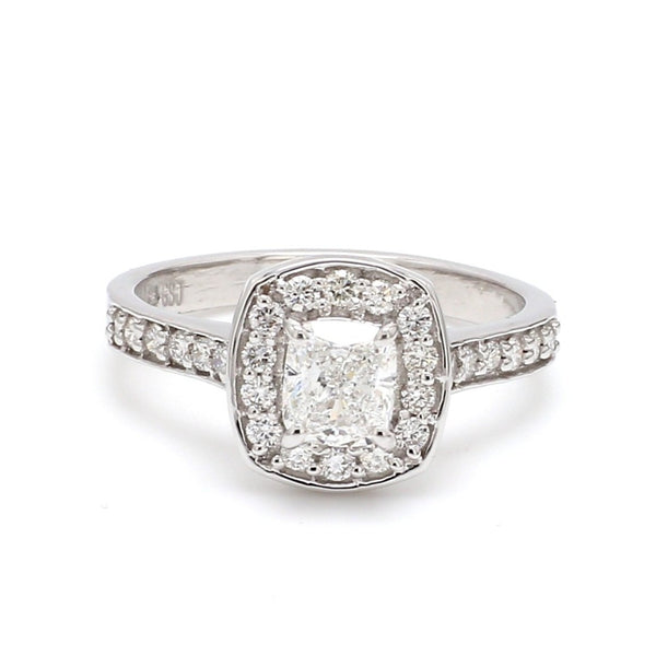 Front View of Raised Halo Solitaire Engagement Platinum Ring with Cushion Cut JL PT 661