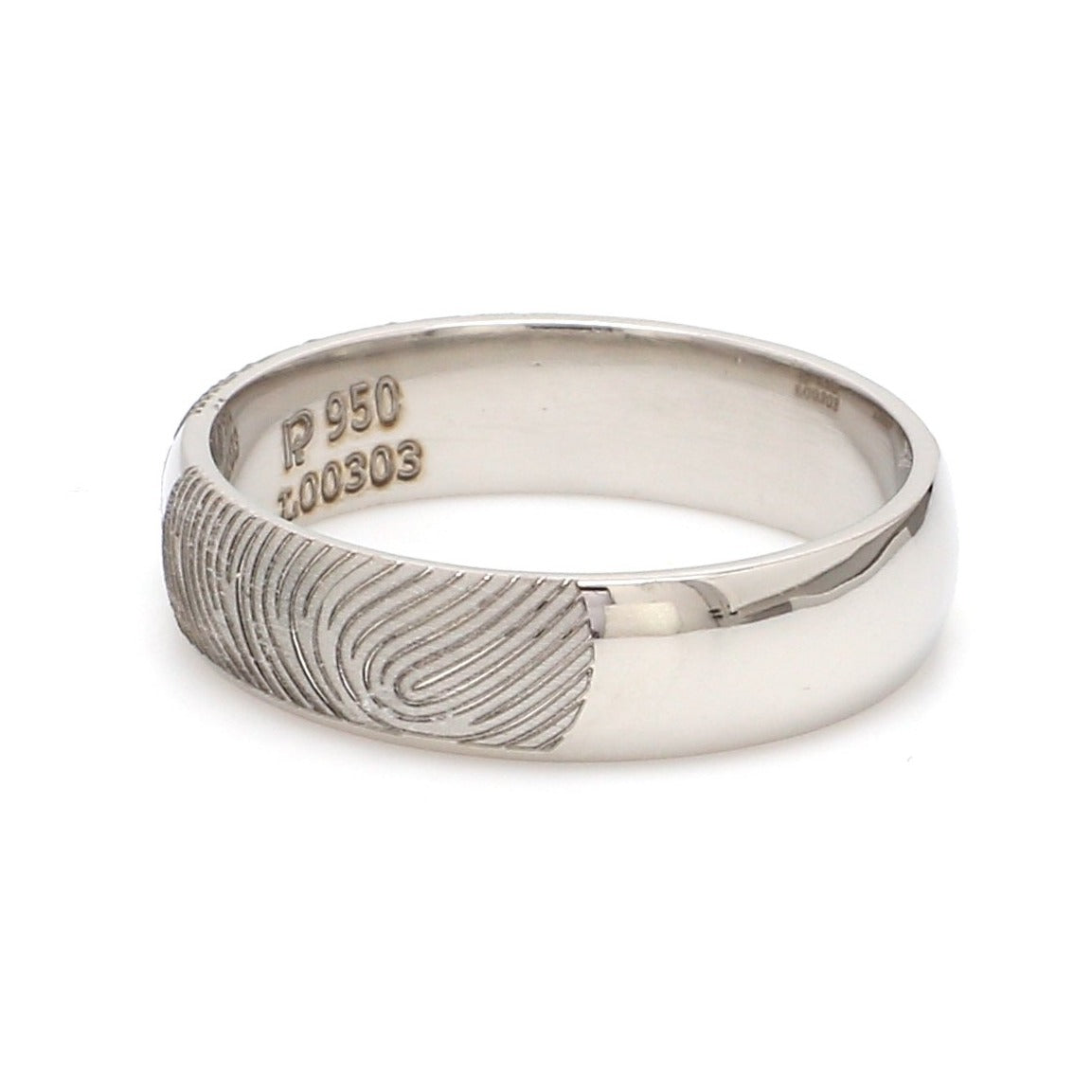 Customized Fingerprint Engraved Platinum Rings with Diamonds for Couples