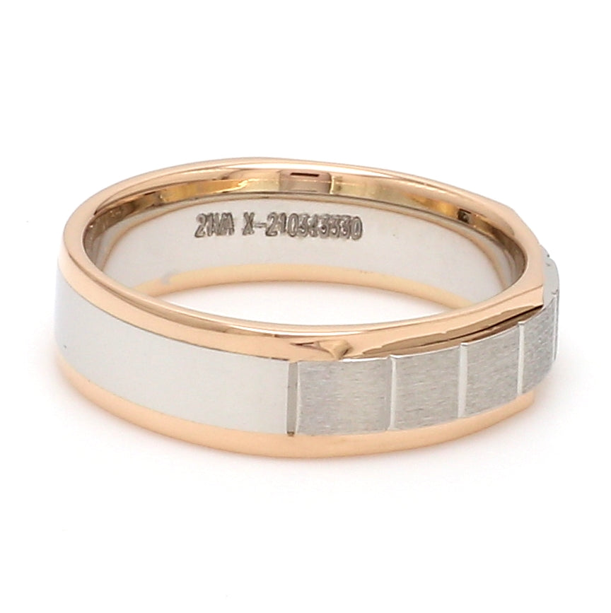 Unique Shape Platinum Love Bands with Single Diamond & Yellow Gold Border JL PT 648 - Yellow Gold